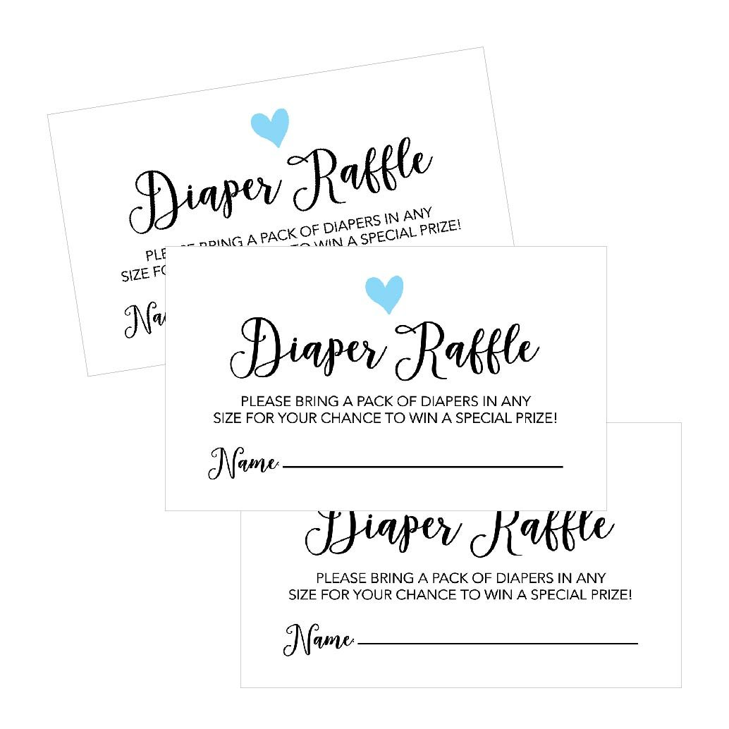 25 Diaper Raffle Ticket Lottery Insert Cards for Blue Boy Heart Baby Shower Invitations, Supplies and Games for Baby Gender Reveal Party, Bring a Pack of Diapers to Win Favors, Gifts and Prizes