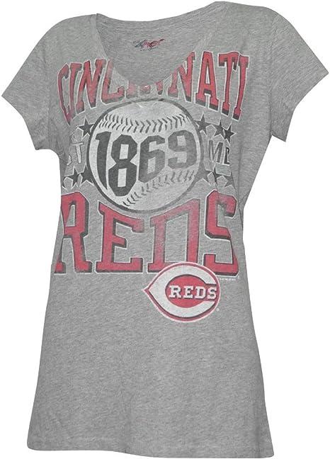 Mujer MLB Cincinnati preferiblemente V de pico de algodón camiseta ...