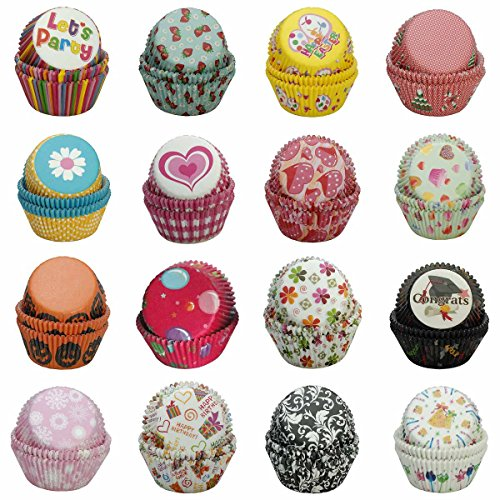 Paper-Baking-Cups SophieBella 400 pcs 16-Styles Cupcake-Liner for Holiday (Cupcake Liners Cheetah)