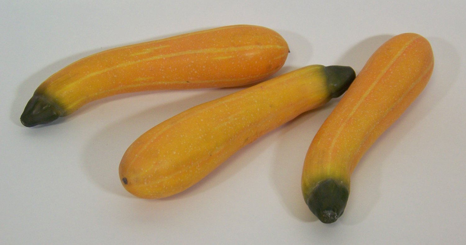 Designer-One-Artificial-Faux-Fake-Yellow-Squash-Zucchini-Vegetable