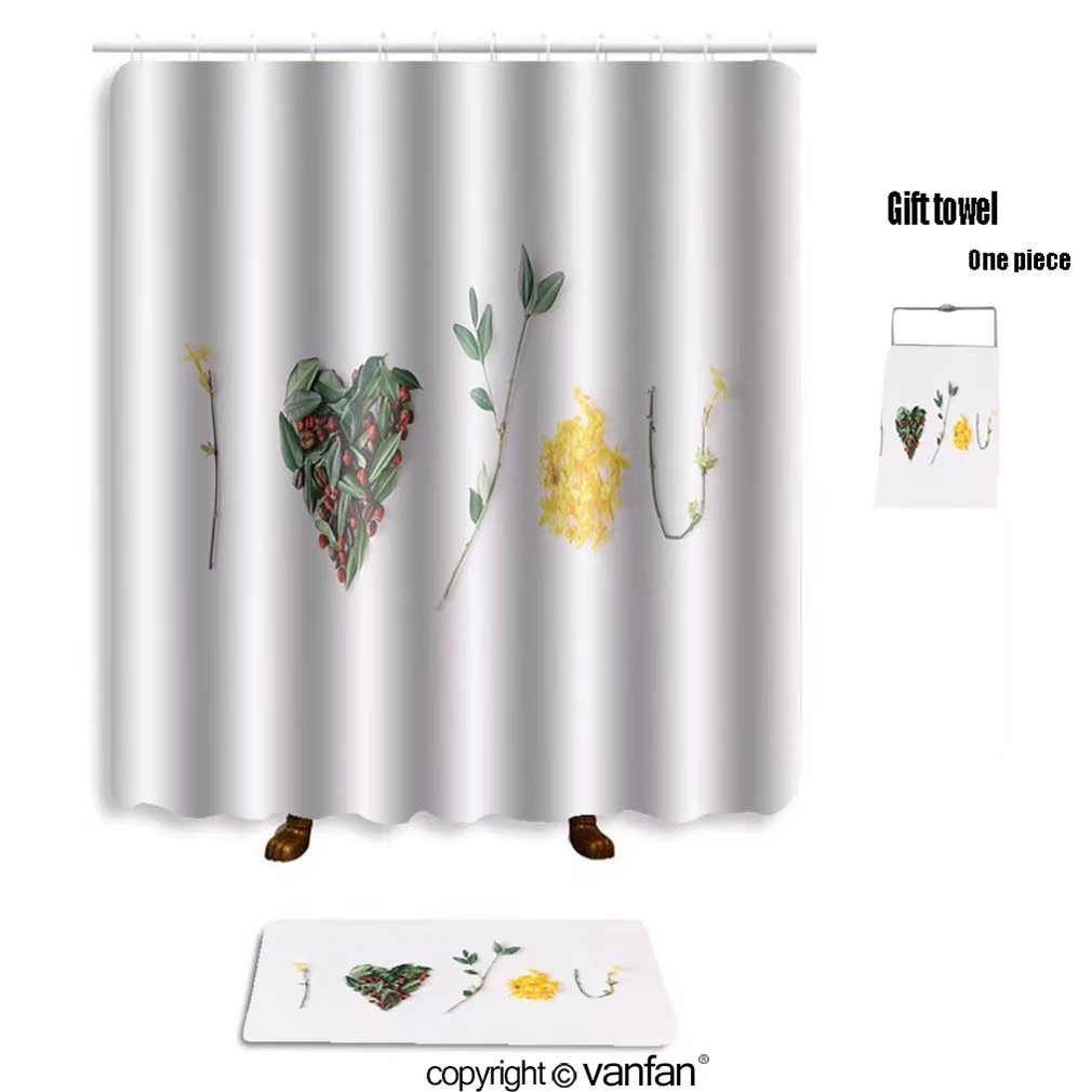vanfan bath sets with Polyester rugs and shower curtain i heart you made of flowers leaves berries an shower curtains sets bathroom 72 x 72 inches&31.5 x 19.7 inches(Free 1 towel and 12 hooks)