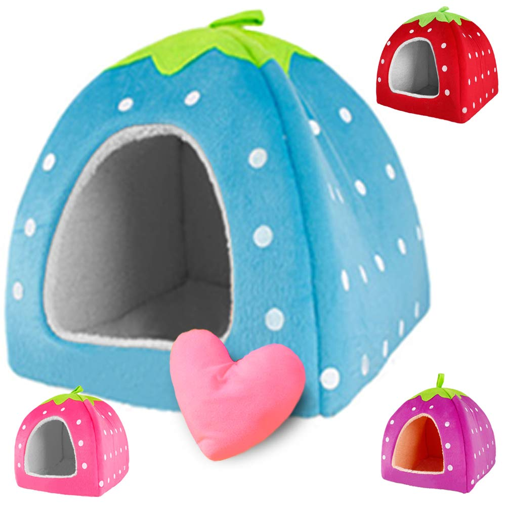 Super Soft Strawberry Pet Igloo Dog Cat Bed House Kennel