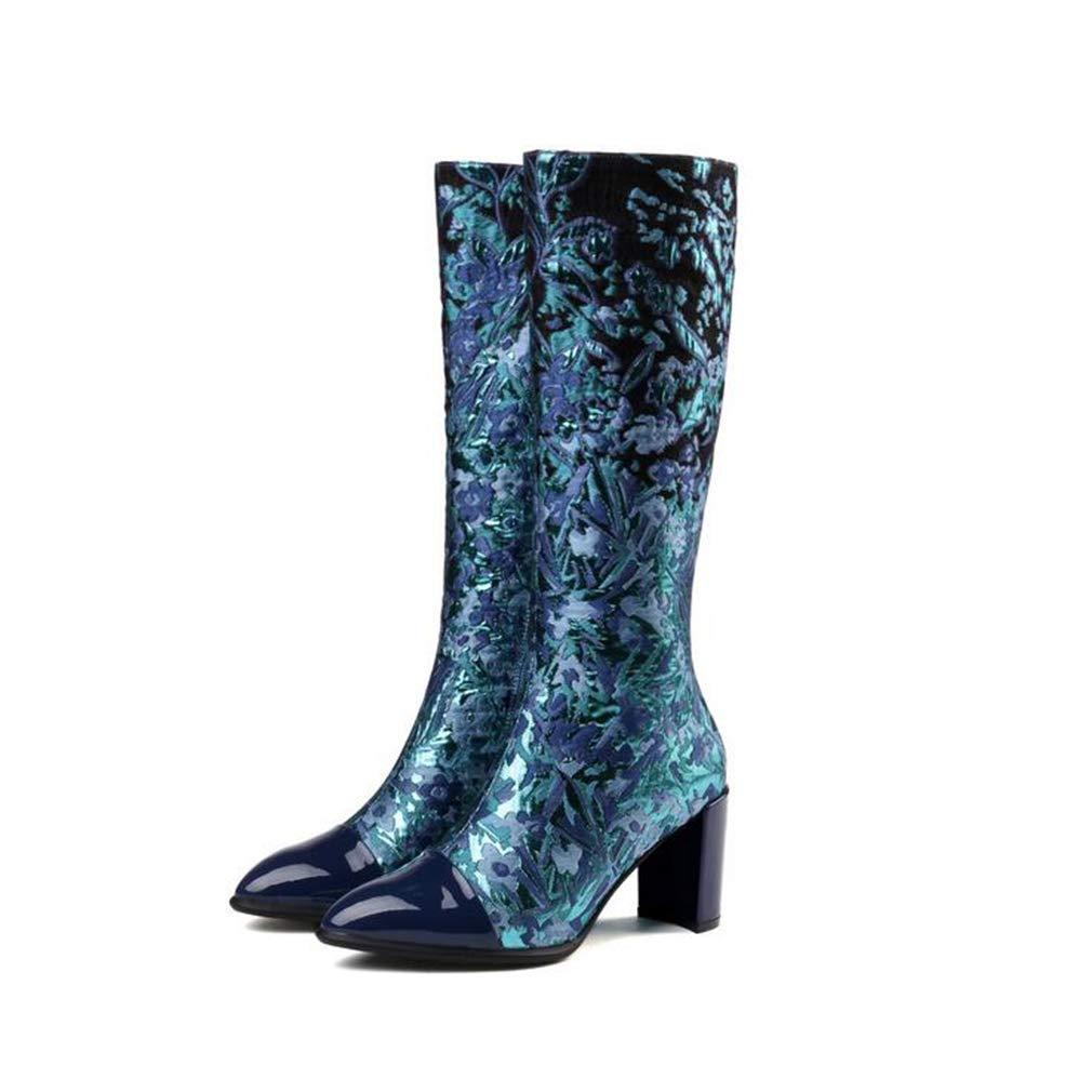 Hy Damen Stiefel, Herbst Winter Leder Komfort Dicke Dicke Dicke Ferse Ritter Stiefel, Damenmode Stiefel, Abendschuhe, Weihnachtsschuhe (Farbe   Blau, Größe   41) c57683