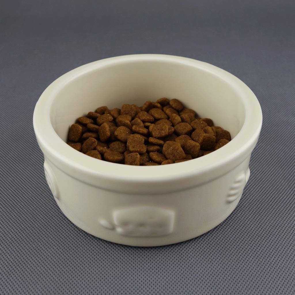 ANDRE HOME Ceramic Bowl Cute Embossed Anti-Skid Cat Food Dog Food Bowl Pet Supplies (color   Beige)