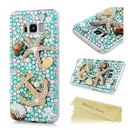 S8 Plus Case,Samsung Galaxy S8 Plus Case 3D Handmade Bling Colorful Diamonds Gold Anchor Starfish Shells Shiny Sparkle Rhinestone Gems Crystal Clear Full Body Protection Hard PC Cover by Mavis's Diary