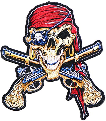 r Pirate Gold Gun Cross Skull Ghost Rider Biker Punk Rock Logo Motorcycle Jacket T-shirt Back Patch Sew Iron on Embroidered Sign Badge Costume ()