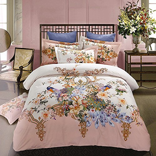 Alicemall Gorgeous Floral Bedding Luxury and Beautiful Peacock Couple Statement Flowers Print White and Pink 100% Cotton Super Soft 4 Pieces Duvet Cover Set, Queen Size