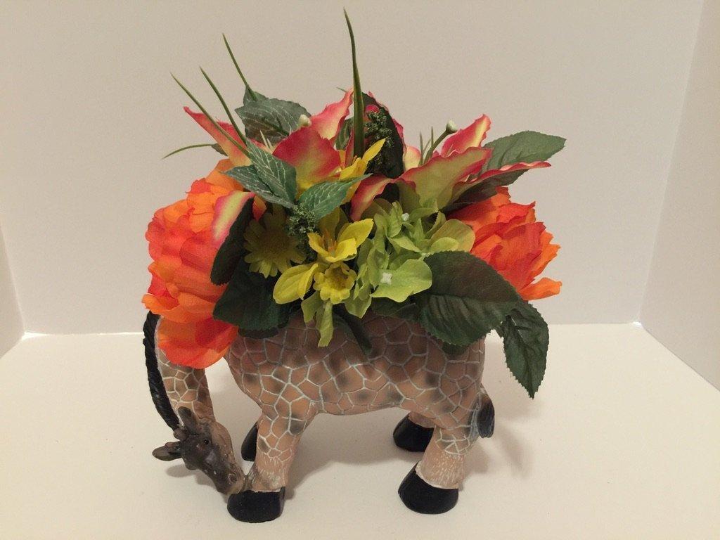 ANIMAL FUN - GIRAFFE VASE - PINK, YELLOW, WHITE, GREEN, ORANGE MIXED FLORAL by Peters Partners Design (Image #2)