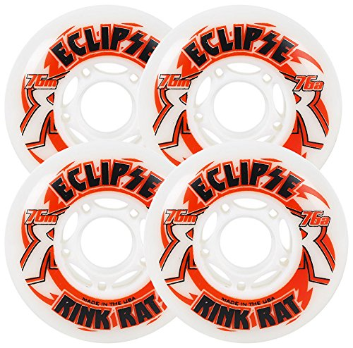 Red Hockey In Line Skate - RINK RAT Wheels 59mm 76a ECLIPSE 4-Pack White/Red Inline Indoor Hockey