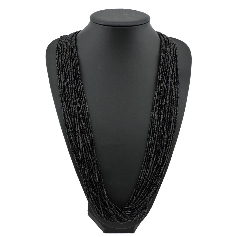 Bocar Long Multiple Row Handmade Beaded Statement 33'' Necklace for Women with Gift Box (NK-10235-black)