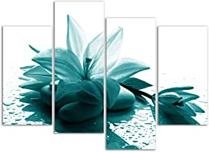Visual Art Decor Large Flowers Picture Wall Art Teal Lily with Zen Stone Giclee Prints Modern Floral Wall Decoration for Living Room Ready to Hang (Lily)