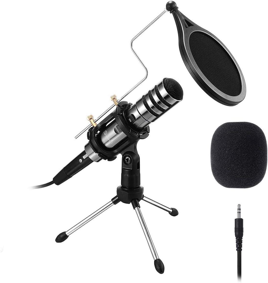 EIVOTOR PC Micrófono, Micrófono de Condensador con Conector de Audio de 3.5 mm, Plug and Play, Adecuado para Computadoras Portátiles, Teléfonos, Canto, Youtube (Negro)