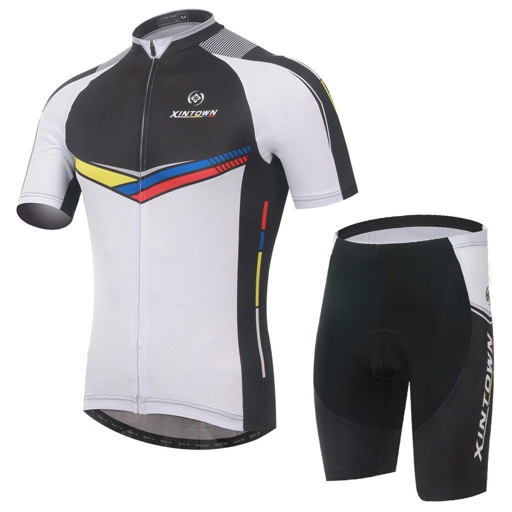 Qsjb XINTOWN Sommer Bike Wear Radfahren Kurze Ärmel Herren Bike Suits Kurze Lätzchen Hose mit Gel Pad Frühling & AutumenTriathlon Kleidung
