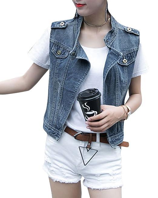 66ad5b5800 Donna Giacca Denim Corti Senza Maniche Gilet In Jeans Slim Fit ...