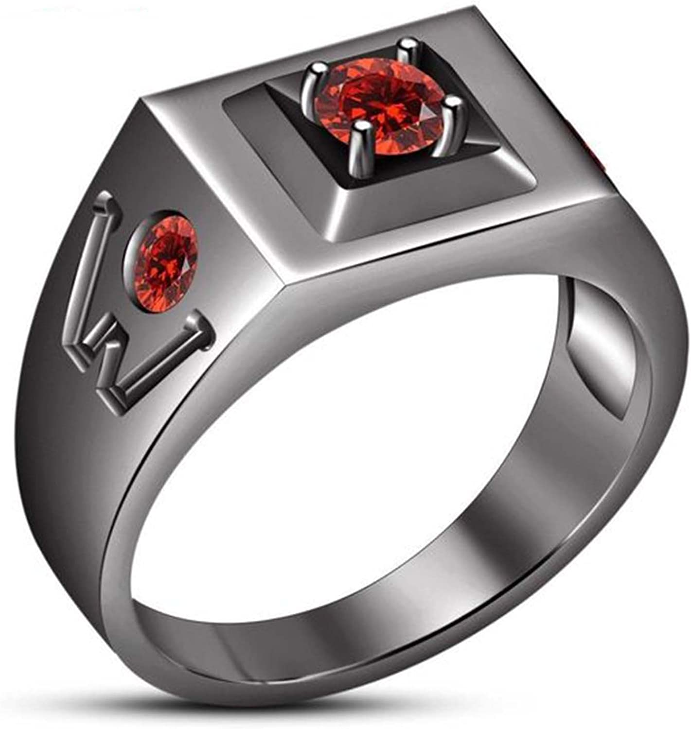Silverraj Jewels Fathers Day Collection-Mens Red Simulated Diamond 14K Black Gold Fn Ring For Lovely DAD,Father