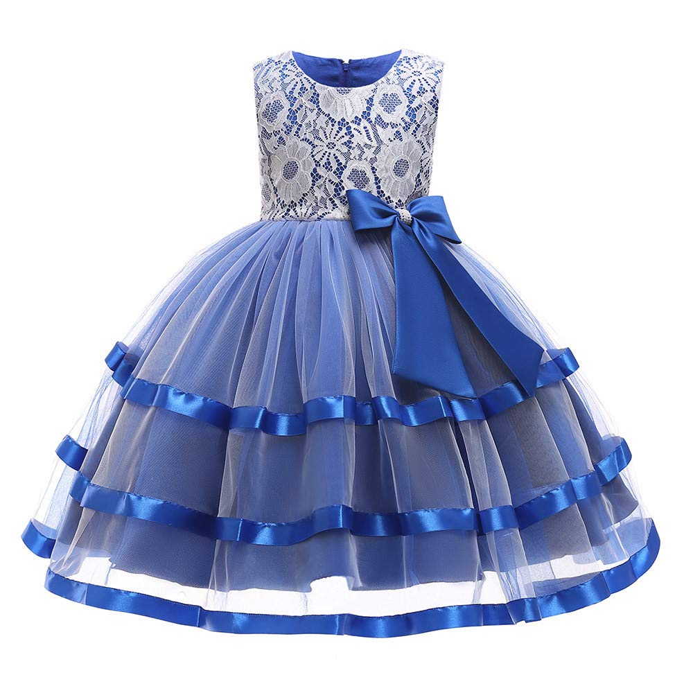 Princess Lace Tutu Dress for Girls Kids Wedding Pageant Bridesmaid Photoshoot Formal Gown Bowknot Tulle Swing Dress (Blue, 140) by pengchengxinmiao