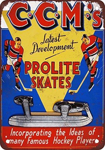 YFULL CCM Prolite Hockey Skates Vintage Decor Metal Tin Sign 12x16 -