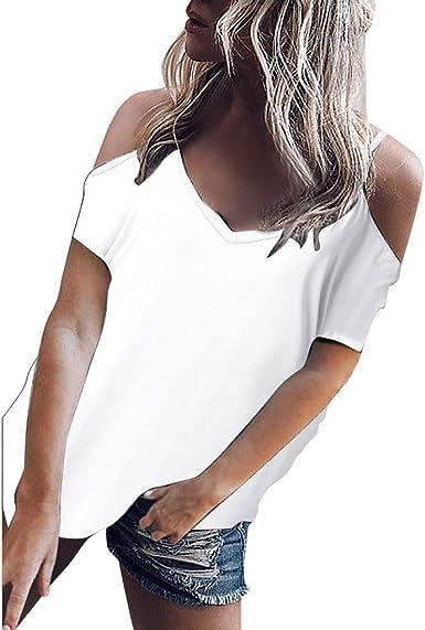 Verano Camisas De Hombro Frío Blusas Tops, ☆BuyO☆ Batwing Camisetas sin Mangas Camiseta Casual Camiseta para Mujer Blusas para Mujer Moda 2019 Verano Casual Camiseta V Cuello Frío Hombro Tops Camiseta: Amazon.es: