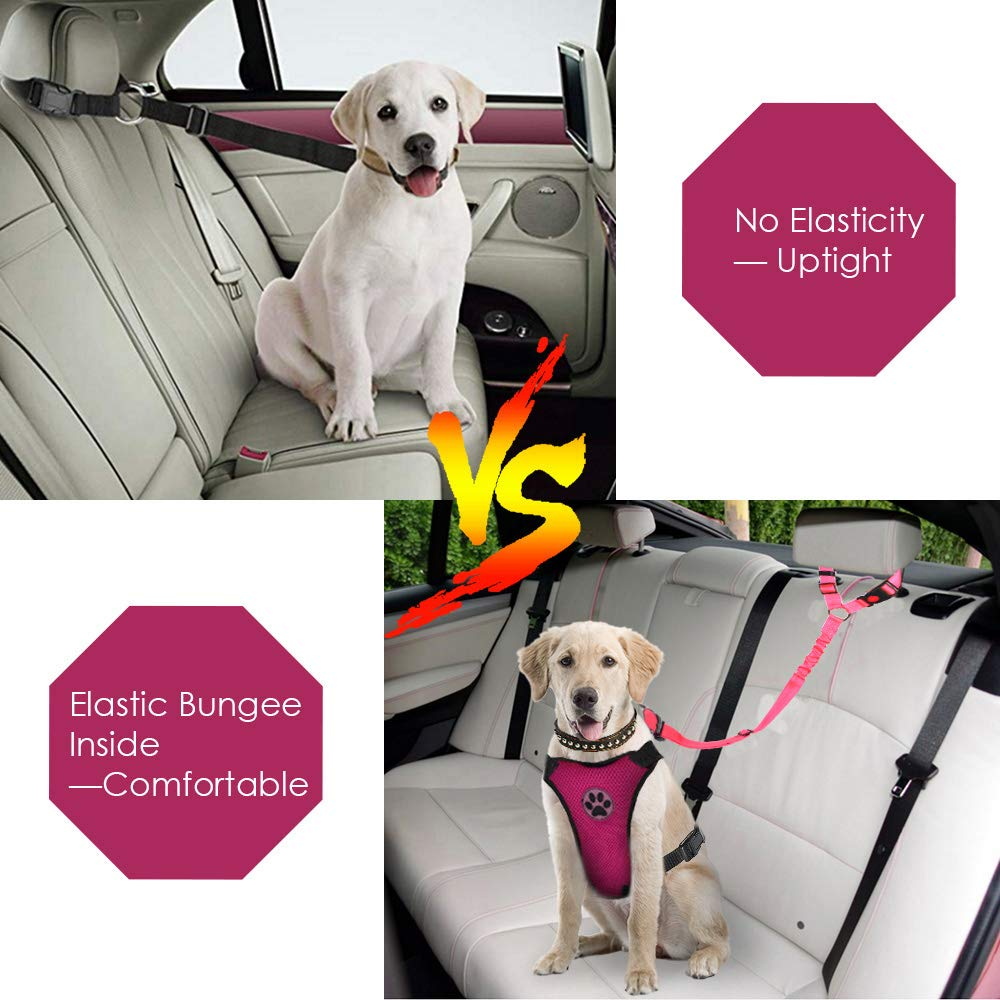 SlowTon Dog Seatbelt 2 Pack Pet Car Seatbelt Headrest Restraint Adjustable Puppy Safety Seat Belt with Elastic Bungee and Reflective Stripe Connect with Dog Harness in Vehicle for Travel Daily Use