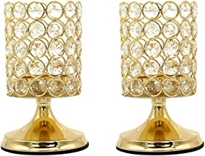 Vincidern 2 Pcs Gold Crystal Candle Holders Centerpiece, Pillar Candle Hurricane Candleholders, Table Decoration Candlestick Holder for Wedding Home Party (6.5 inches Tall)