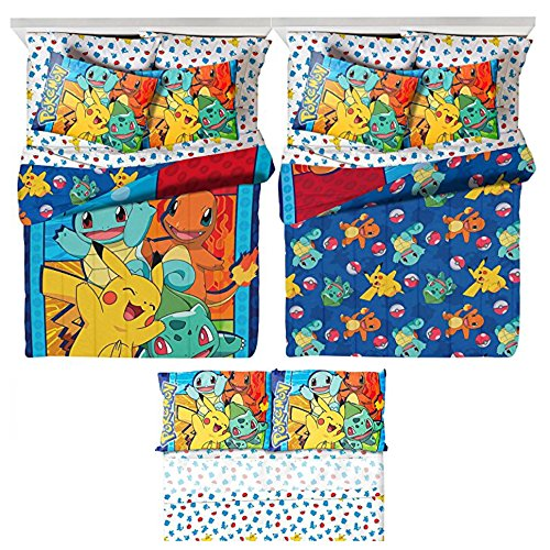 Pokémon 5 Piece Kids Full Bedding Set - Reversible Comforter, Sheet Set with 2 Reversible Pillowcases (Pokemon Bedding Set)