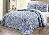 "2-Piece Oversize (66"" X 95"") Fine printed Prewashed Quilt Set Reversible Bedspread Coverlet TWIN / TWIN XL SIZE Bed Cover (Grey, Black, White, Blue, Paisley)"