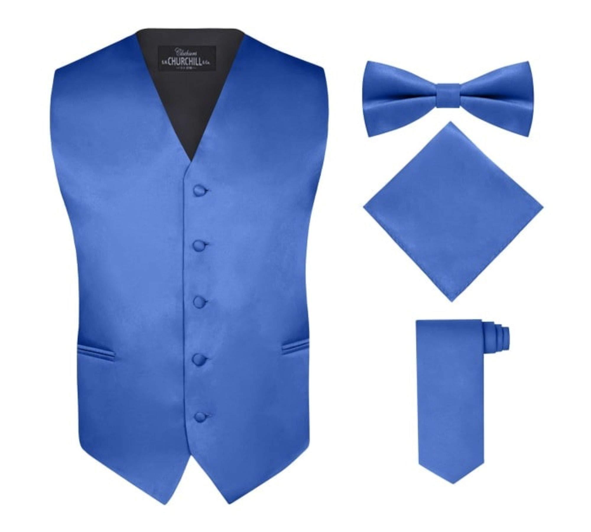 S.H. Churchill & Co. Men's 4 Piece Vest Set, with Bow Tie, Neck Tie & Pocket Hankie - Royal Blue, L