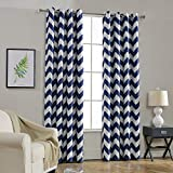 Melodieux Chevron Blackout Grommet Top Curtains, 52 by 84 Inch, Navy (1 Panel)