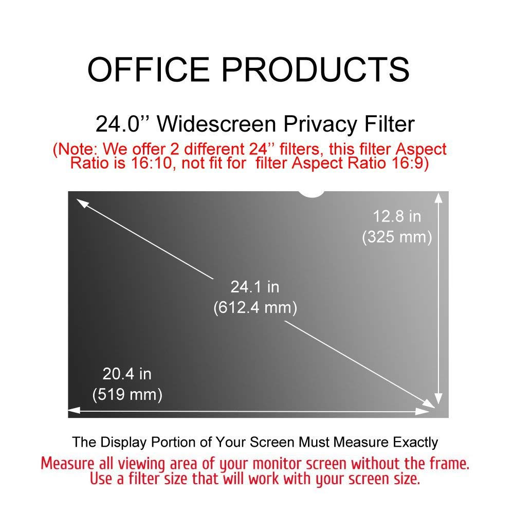 Ovimir 24 Inch (Diagonally Measured) Computer Privacy Screen Filter, [16:10 Aspect Ratio] for Widescreen Monitors Anti-Glare - Anti-Scratch Screen Protector by Ovimir (Image #7)