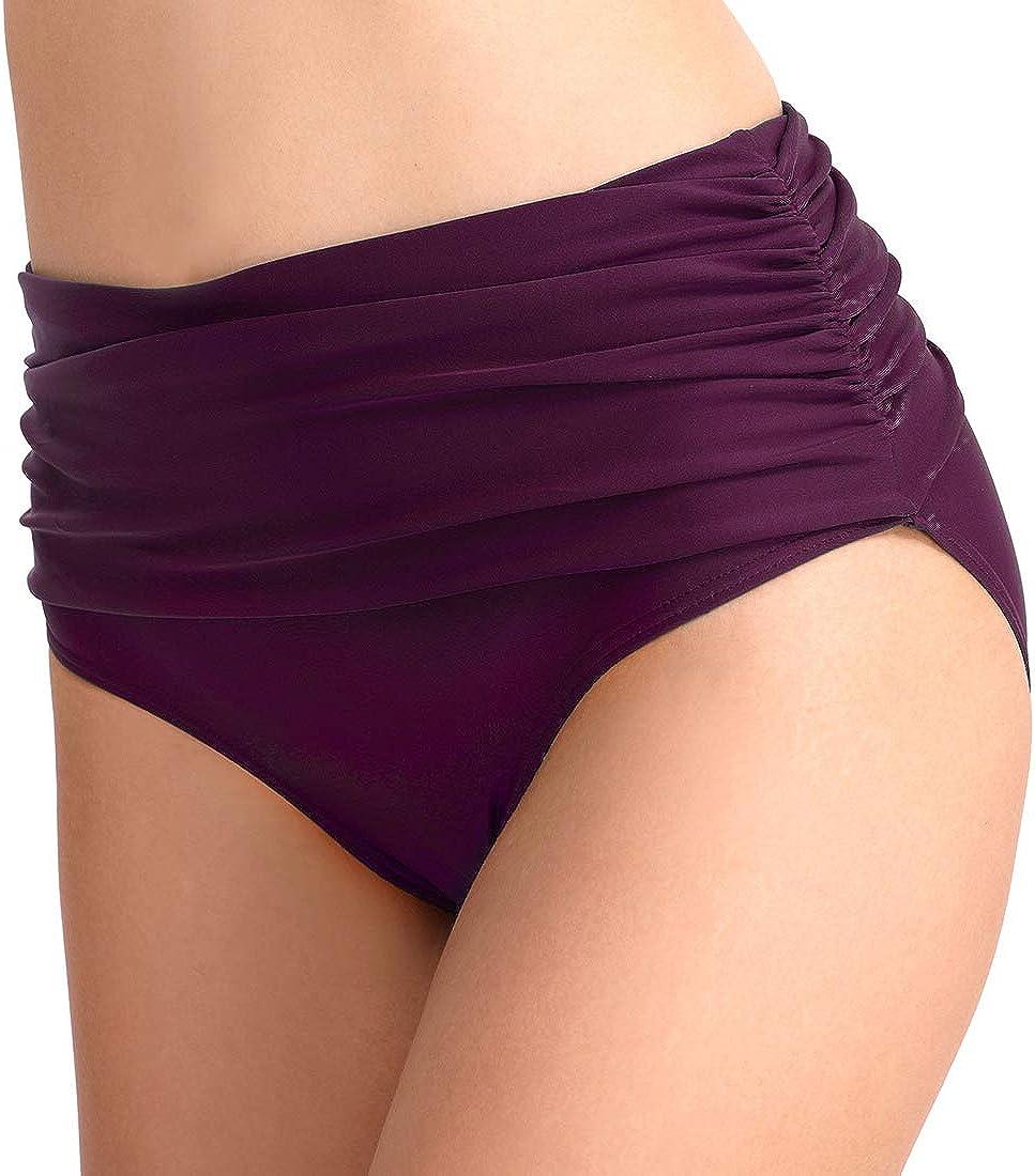 CAMLAKEE Damen High Waist Bikinihose Hoch Geschnitten Bikini Unterteil Bauchweg Badeanzug Geraffte Schwimmen