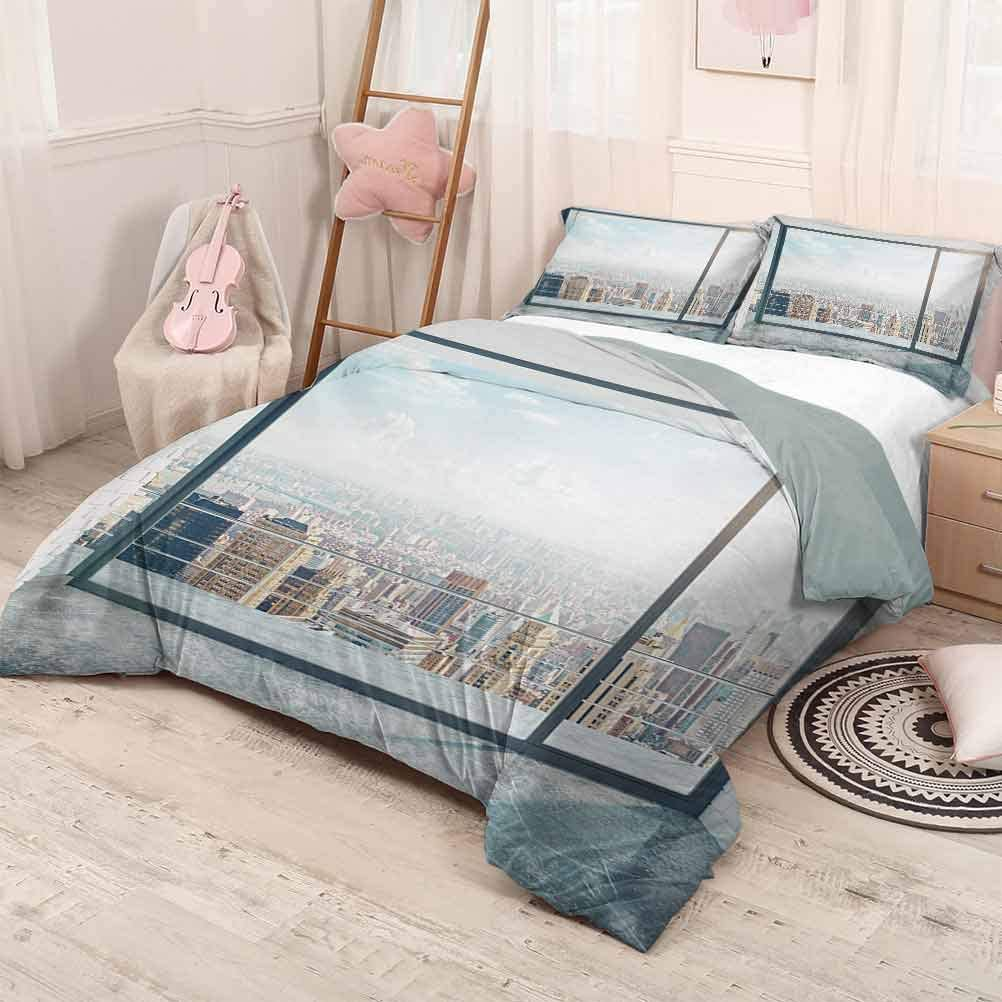 prunushome Modern 3 Piece Duvet Cover Comforter Set Empty Loft Cityscape Apartment Buildings Industrial Landscape Image Print Polyester Quilt Cover and Pillowcases Pale Grey and White Twin Size