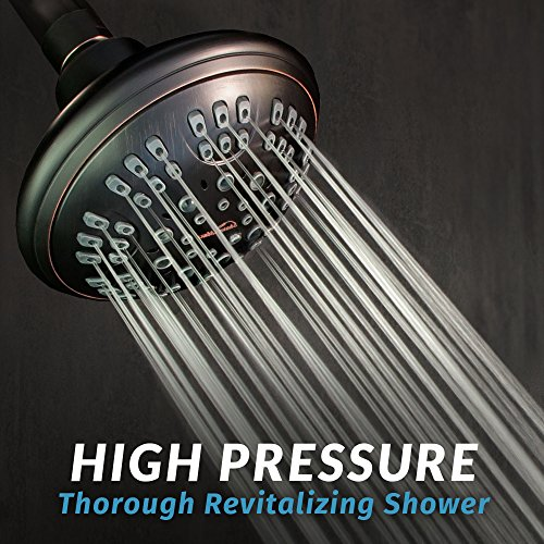 ShowerMaxx | Fixed Showerhead in Oil Rubbed Bronze Antique Finish | 2.5 GPM High Pressure Shower Head Jets | 6 Setting Sprays Control | Power Massage | Self Cleaning Nozzels | Wall Mount | Adjustable