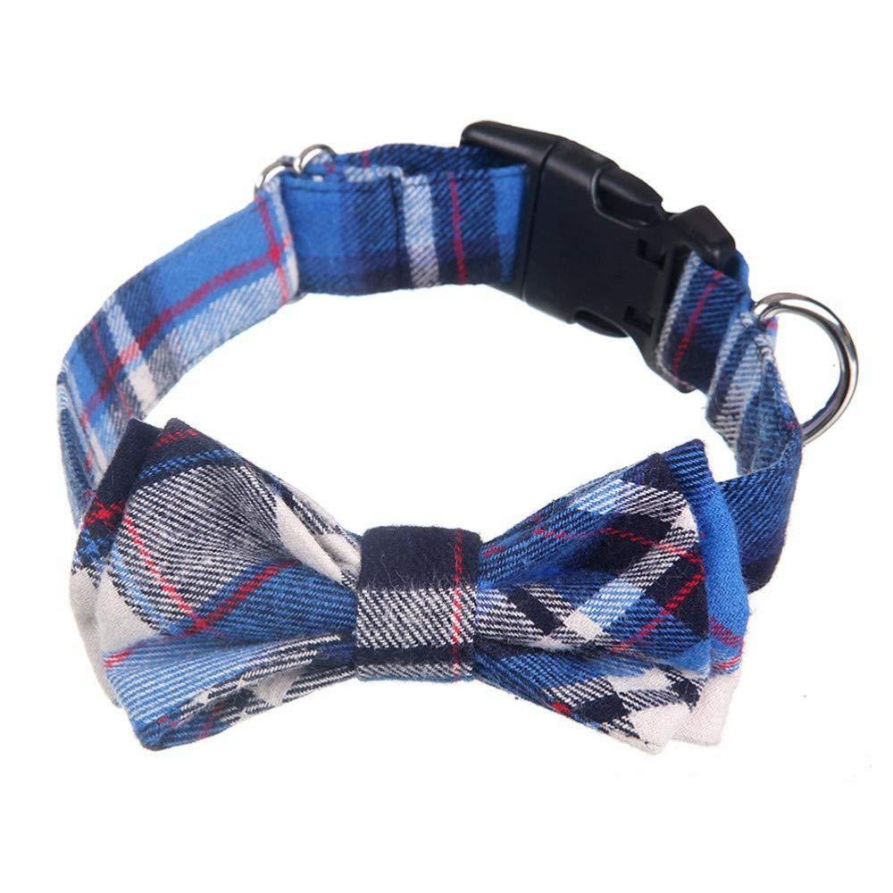 CVXBZB 2 pz Moda Bella Attraente Carino Bow Tie Grid Cat Dog Collana Girocollo Pet Supplies Collare Pet per Cane Gatto, Blu