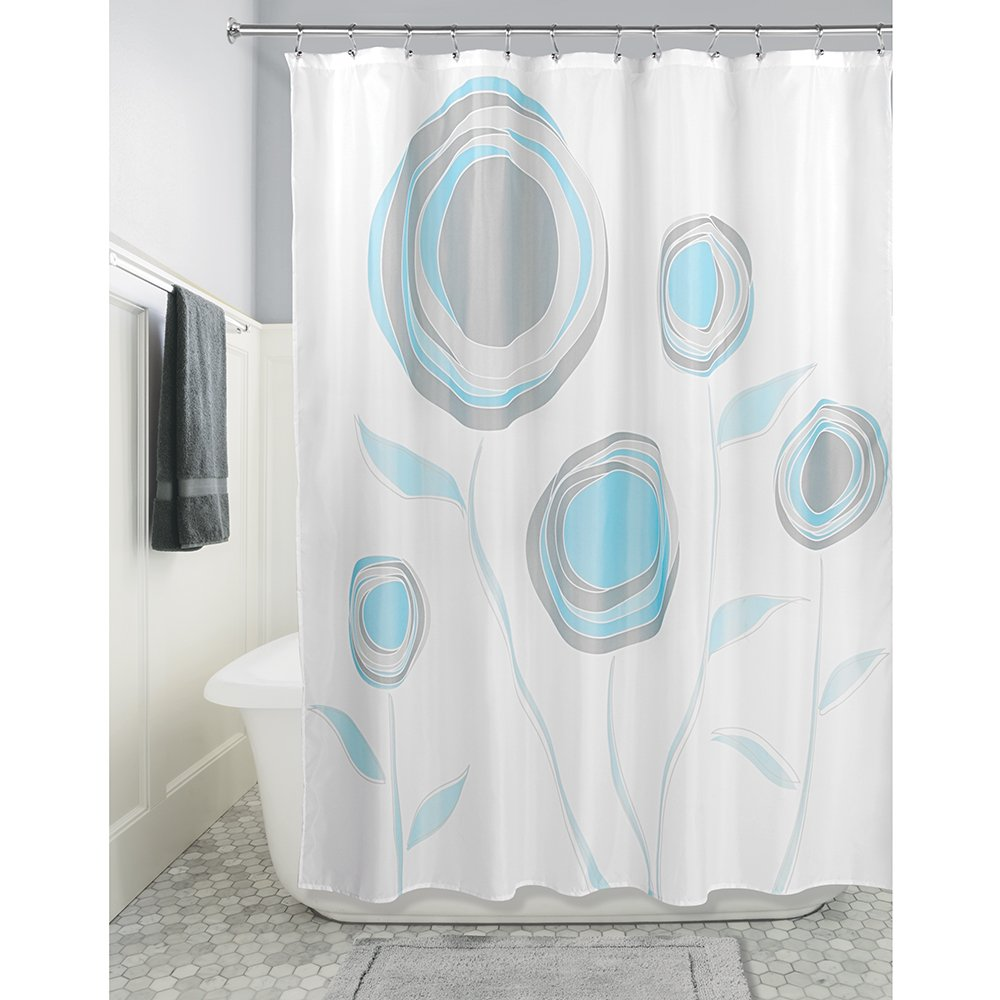InterDesign Marigold Fabric Shower Curtain Blue//Gray 72 x 72