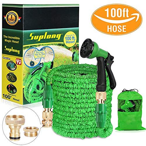 Suplong Water Hose Pipe Garden Hose Expandable 3 Times Expandable Hose 100ft Flexible Magic Hose Pipes Gardening With 8 Function Spray/Brass Connector Fittings/Storage Bag