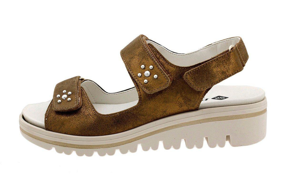 PieSanto Sandale mit Herausnehmbarem Fuszlig;bett 180781 Komfort Damenlederschuh  38 EU|Ante Metal Bronce