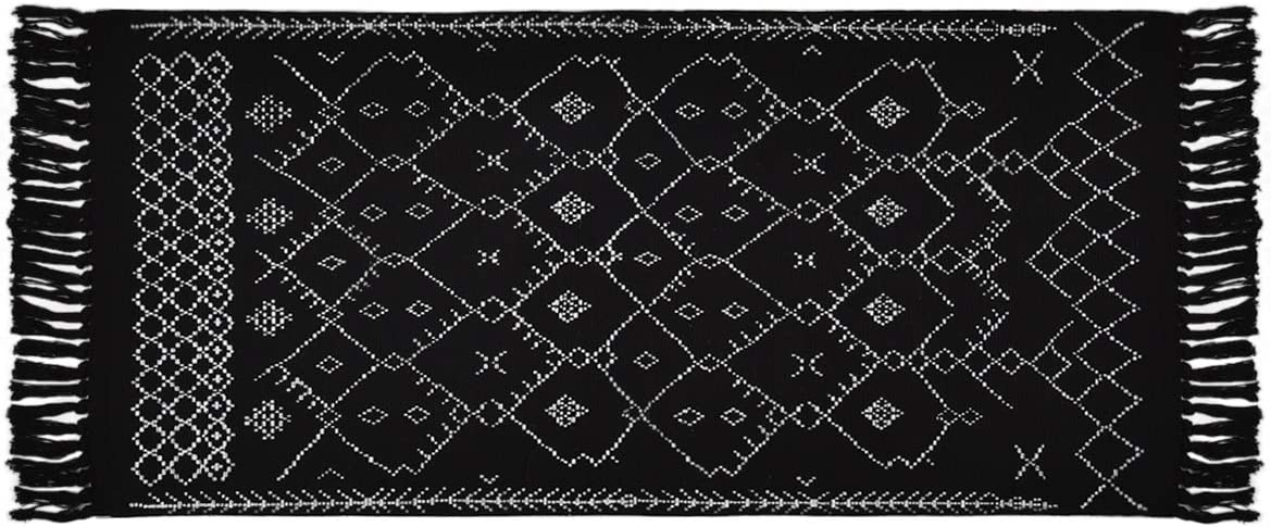 Boho Black and White Rugs, Runner Bath Rugs, Geometric Tribal Mats, 2 4.3 Cotton Woven Area Rug with Tassel for Kitchen, Bedroom, Entrance, Laundry Room