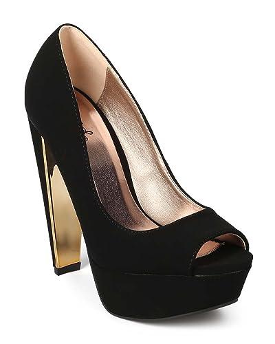 5b553d01d6c Qupid Women Nubuck Peep Toe Gold-Plated Chunky Heel Platform Pump EJ53 -  Black (