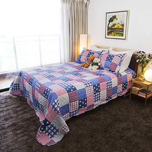 Quilt Sets with 100% Cotton Soft Quilted for All-Season, Luxury 3-Piece Full/ Queen Bedspread and Shams, Oversized Reversible Quilting, with Decorative Printed Stripe Pattern by (Quilting Stripe)
