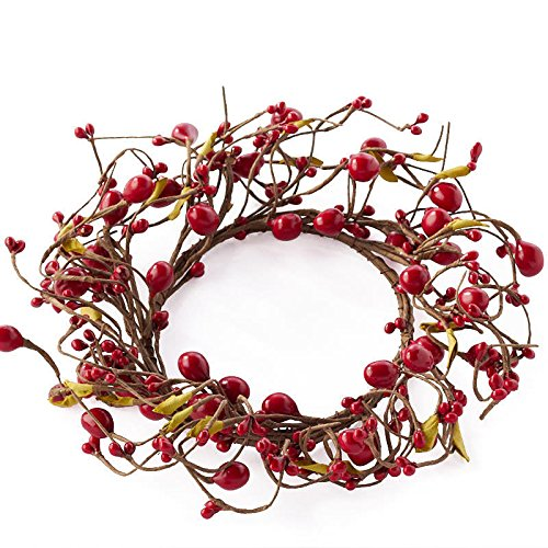 Factory Direct Craft Set of 2 Bright Red Mixed Berry Candle Rings for Home Decor, Interior Design and Displaying
