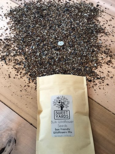 Live Ladybug (Bee Friendly Wildflower Seed Mix - Bulk 1/4 Pound Bag - Over 30,000 Open Pollinated Seeds - 100% Pure Live Seed - Save the Bees!)