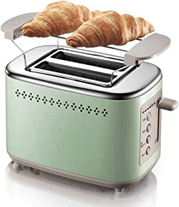 Toaster Toaster 2 Slice, Small Retro Bagel Toaster Toasters 2 Slice Best Rated Prime Wide Slots Toasters - 6 Browning Settings, Bagel, Cancel, Defrost Function, Removable Crumb Tray, Quickly Toaster