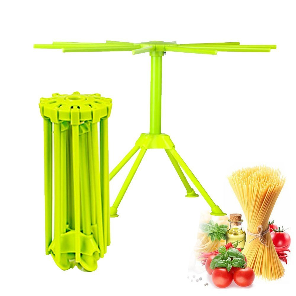 Kitchen Pasta Drying Rack Folding, iPstyle Spaghetti Drying Rack Noodle Stand with 10 Bar Handles (Green)