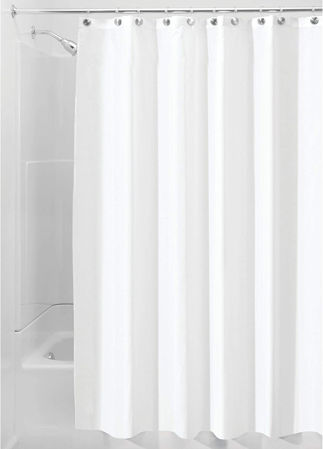 "iDesign Solid Fabric Bathroom Shower Curtain - 72"" x 72"", White: Home & Kitchen"