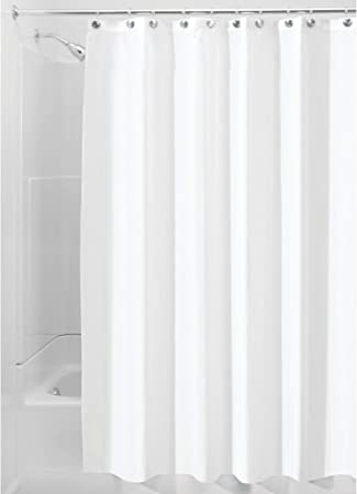 Amazon Com Interdesign 72 X 84 Inch Fabric Waterproof Long Shower Curtain Liner White Home Kitchen