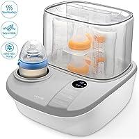 3 in 1 Dampfsterilisator Baby sterilisator Flaschenwärmer mit Trocknungsfunktion 900W, LCD-Anzeige, Warmhaltefunktion, Auftauen für bis zu 6 Babyfläschen und Schnuller