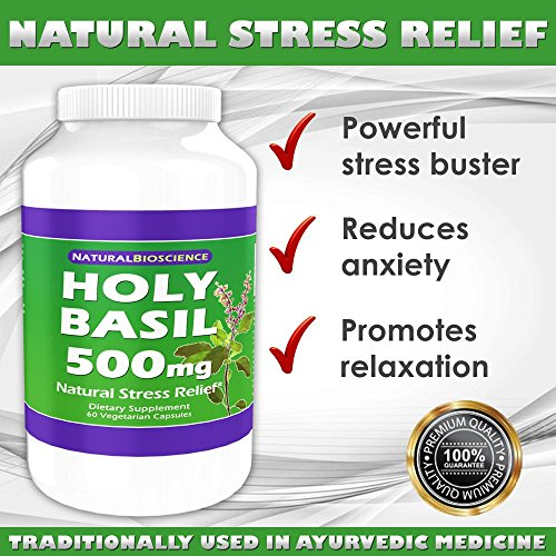 Holy Basil (Tulsi) 500mg, Natural Stress Relief, Mood Support, Immune Support, Pure Holy Basil Extract (Tulsi Extract) from Holy Basil Leaf, Ayurvedic Herb, Organically Grown, 60 Vegetarian Capsules