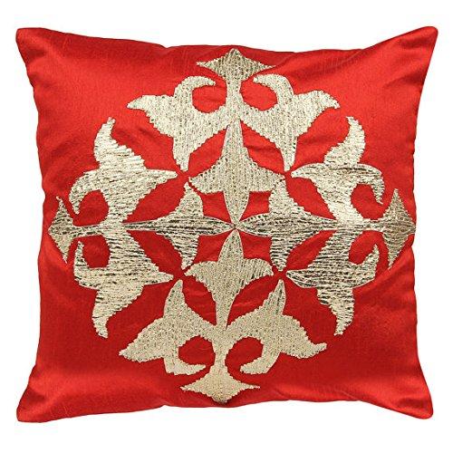 Rojo Funda de cojín con bordado de patrón de Damasco con ...