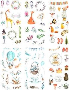 3 Set(18 Sheet) Kawaii Fairy Tale Animal Girl Hot Air Balloon Giraffe Fox Hedgehog Snowman Gloves Floral Stationery Sticker Scrapbooking Planner Journal Diary DIY Craft Decorative Label (Cute Animal)