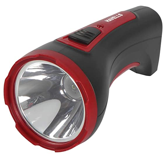 Havells Ranger 30 3-Watt Rechargeable LED Torch (Black) Emergency Lights at amazon
